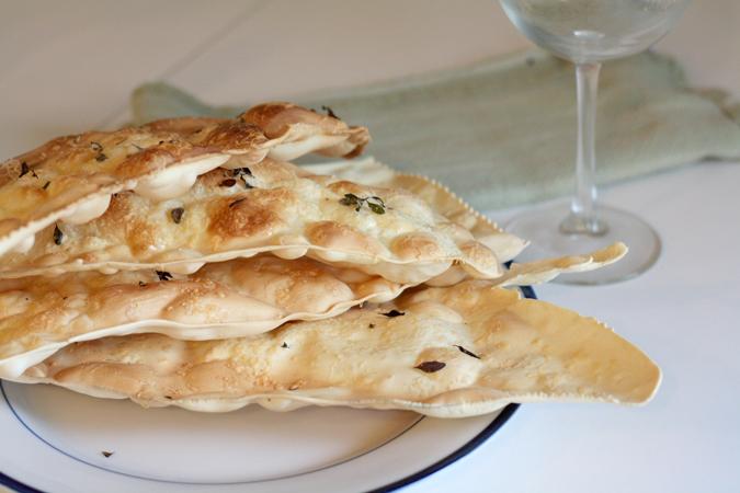 Thyme asiago pasta crackers