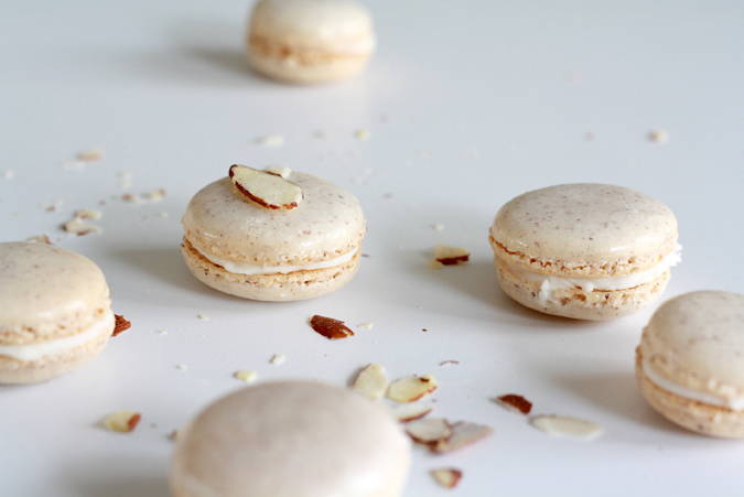 Almond macarons with almond buttercream, from heoyeahyum.com