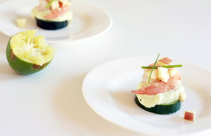 Shrimp on avocado mousse and lightly pickled cucumber with apple salad | heoyeahyum.com