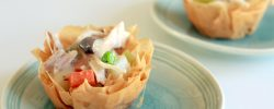 Mini chicken pot pies in phyllo shells