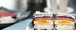 Spam and eggs musubi with soy sauce mayonnaise