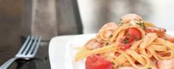 Tomato, shrimp, and bacon fettuccine